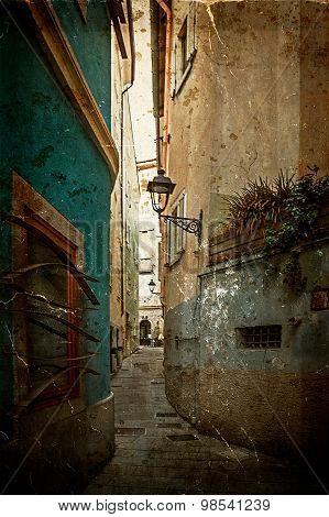 Old Postcard With One Small Street In Trieste, Italy 2