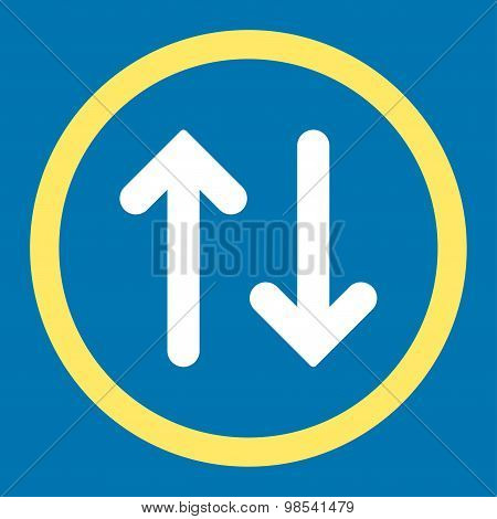 Flip flat yellow and white colors rounded vector icon