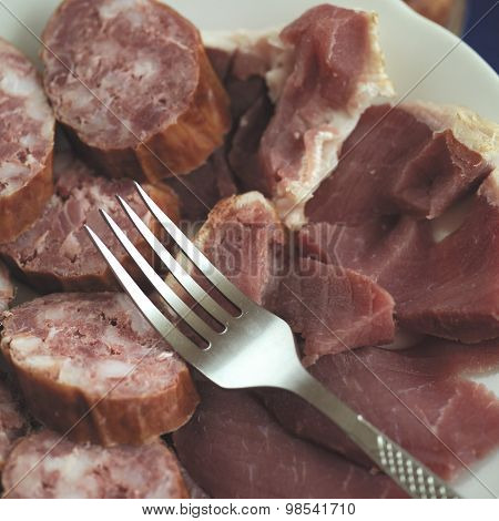 Salami And Fork