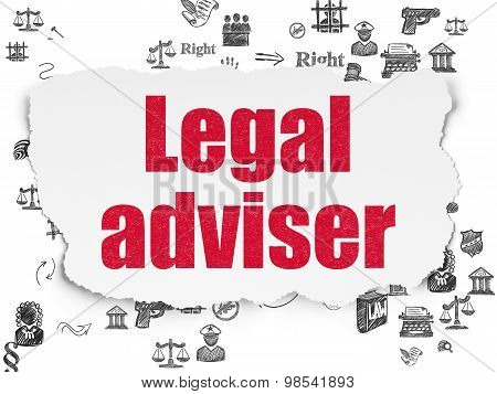 Law concept: Legal Adviser on Torn Paper background