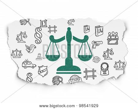 Law concept: Scales on Torn Paper background
