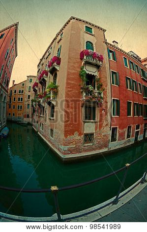Fisheye View At One Canal In Venice, Italy