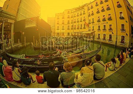 Fisheye View At One Canal In Venice, In Sunset Light