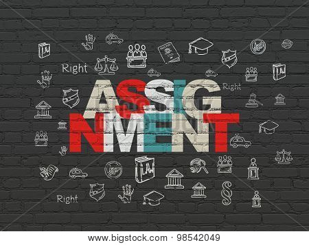 Law concept: Assignment on wall background