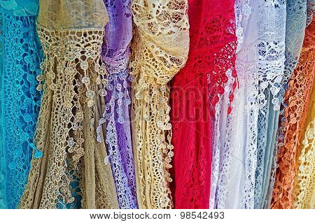 Colored Lace Scarves Hanging
