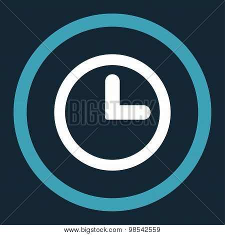 Clock flat blue and white colors rounded vector icon