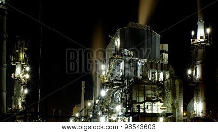 The exterior of Oil refinery building