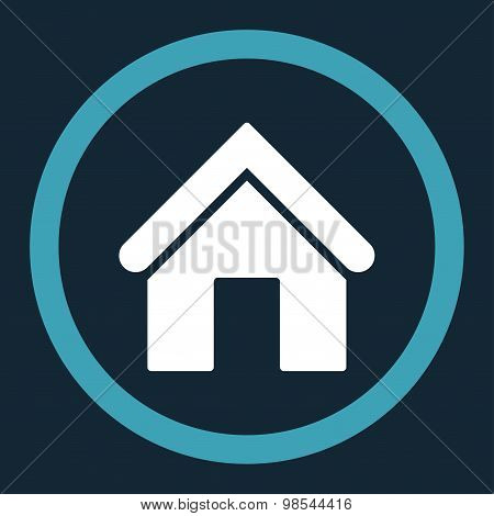 Home flat blue and white colors rounded vector icon