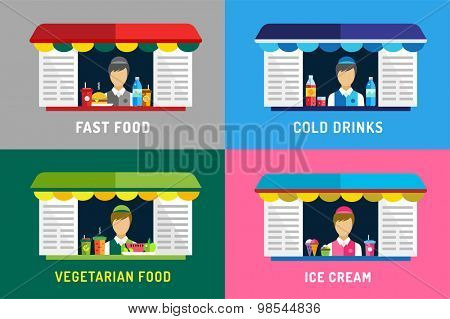 Fast food restaurants vector objects. Water bottle, juice, eat and ice cream, hamburger, hot dogs or mobile restaurant, lunch time, man silhouette, vegetarian, eco