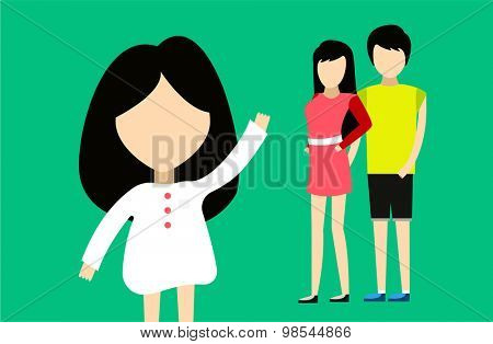 Happy family together. Portrait, home, happy. Mother, father, girl. Family time, summer, vacation. Relationships. People cartoon characters