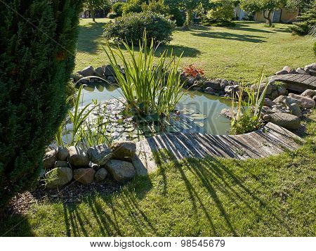 Beautiful Classical Garden Fish Pond Gardening Background