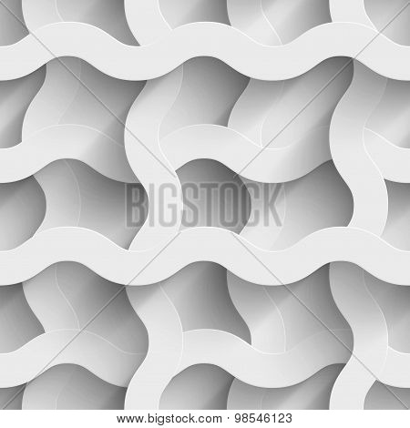Abstract white paper plexus waves 3d seamless background
