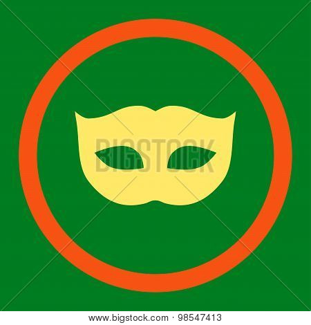 Privacy Mask flat orange and yellow colors rounded vector icon