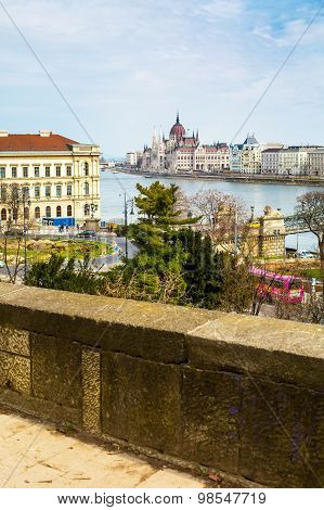 View Of Hungarian Parliament Building And Danube River, Budapest