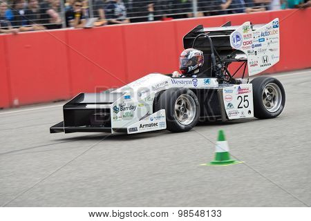 HOCKENHEIM, GERMANY - AUGUST 1, 2015: The automotive design competition for university teams display some unique, innovative and conceptual aerodynamic solutions for lightweight race cars.
