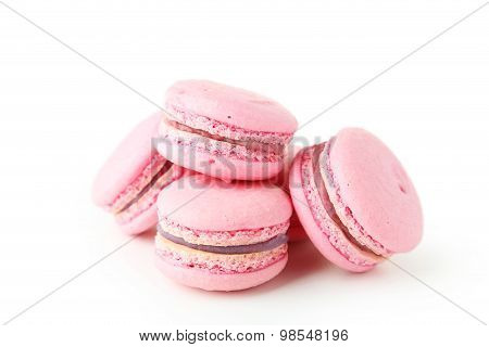 French Pink Macaron Isolated On White
