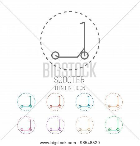 Scooter for children. Clean thin line style sport icon set