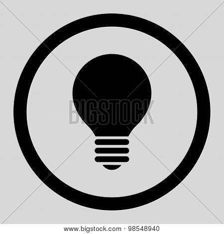 Electric Bulb flat black color rounded vector icon