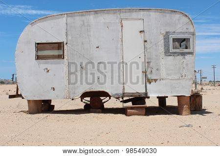 Vintage weathered Trailer in Desert