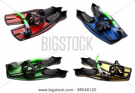Set Of Multicolor Swim Fins, Mask And Snorkel For Diving