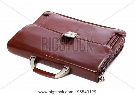 Leather Brown Briefcase On White Background