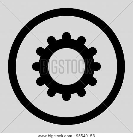 Gear flat black color rounded vector icon