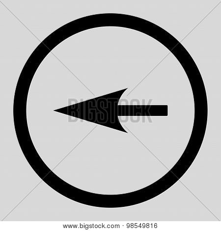 Sharp Left Arrow flat black color rounded vector icon