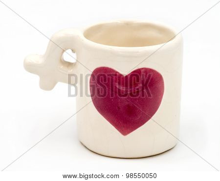 Love Cup On White Background, Pink Heart On Cup.