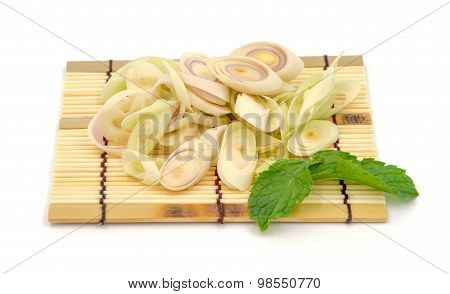 Lemon Grass Slice On White Background.