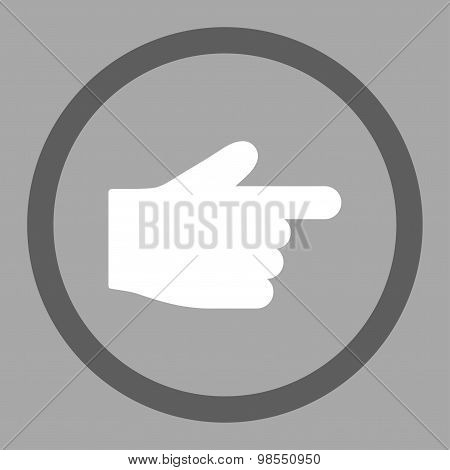 Index Finger flat dark gray and white colors rounded vector icon
