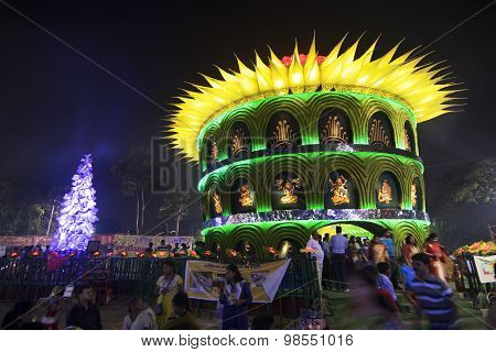 Kolkata , India - October 1, 2014 : Durga Puja Festival, Decorated Pandal