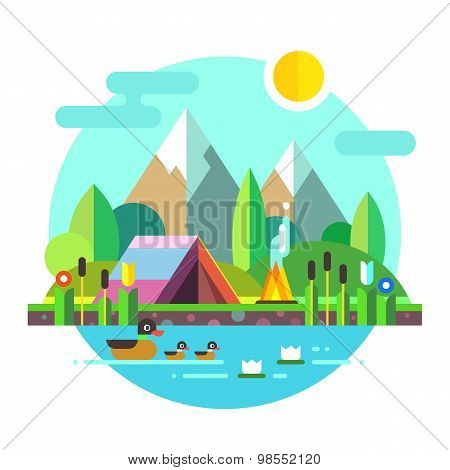 Summer landscape: tent and bonfire in mountains near lake. Solitude in nature by the river. Flowers,