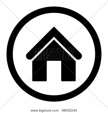 Home flat black color rounded vector icon