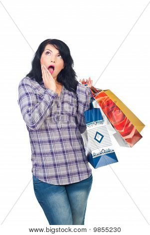 Surprised Woman With Shopping Bags