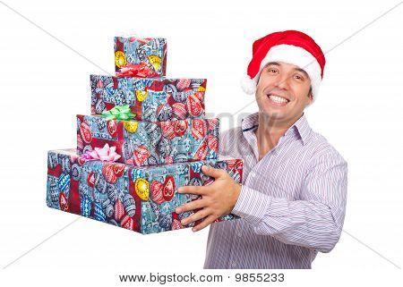 Happy Santa Helper With Presents