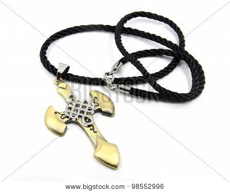 The mighty men's cross on his neck