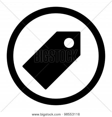 Tag flat black color rounded vector icon