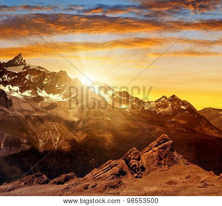 Sunset over the mountain Zinalrothorn