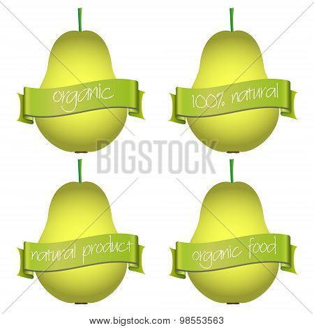 Sweet Pears With Organic And Natural Banners Eps10