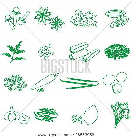 Spices And Seasonings Outline Icons Set Eps10