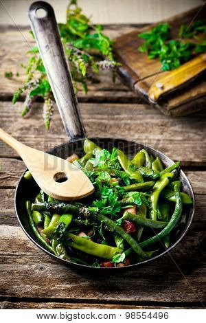 Green Beans, Stewed With Panchetta
