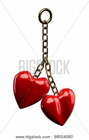 Keychain With A Two Hearts Isolated On White Background