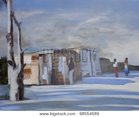 Wooden houses in an African informal settlement