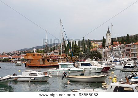 SELCE, CROATIA - JULY 24, 2015: View of Marina Selce and the city center
