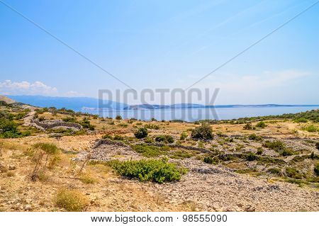 Rocky Landscape With The Mediterranean Sea On The Island Of Krk, Croatia