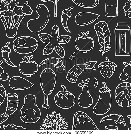 Seamless background with objects in hand drawn outline style on paleo diet theme: meat, fish, fruits