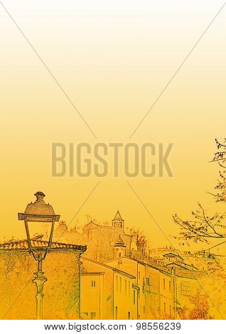 Illustrated Letter Or Poster Sheet With A Drawing Of A Rustic Village Scene