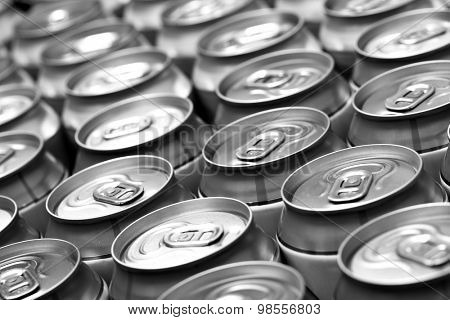 Lots aluminum beer cans. Black and white image. Shallow DOF!