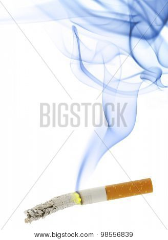 Burning cigarette with smoke isolated over the white background