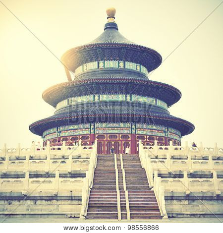 Temple of Heaven in Beijing, China. Instagram style filtered image